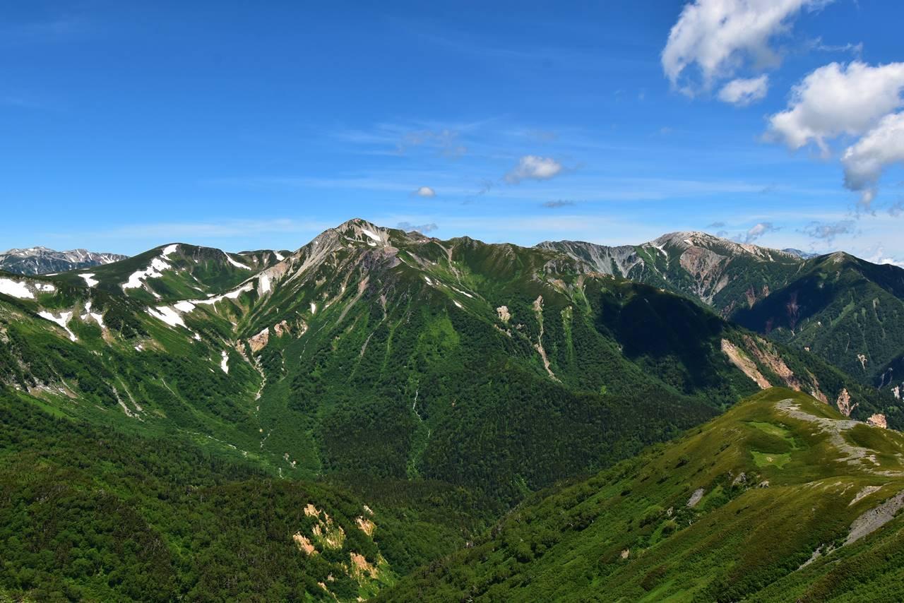 縦沢岳から眺める鷲羽岳~野口五郎岳