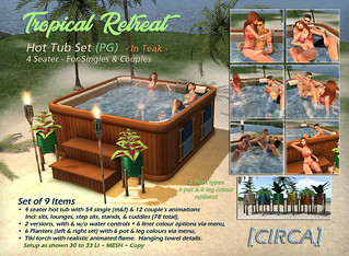"[CIRCA] - ""Tropical Retreat"" - Hot Tub Set PG - In Teak 