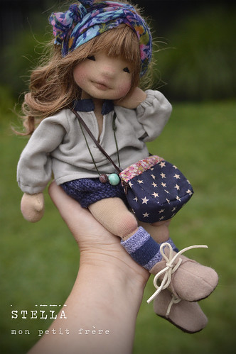"Stella- 13"" natural fiber art doll"