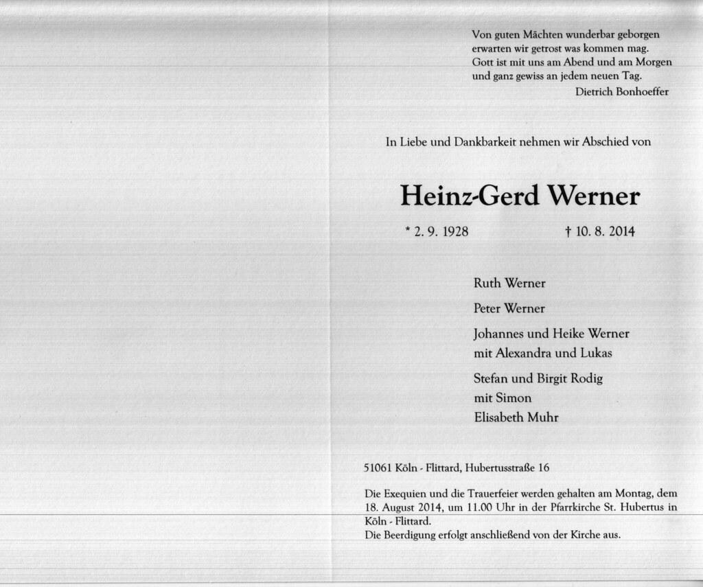 Totenzettel Werner, Heinz-Gerd † 10.08.2014