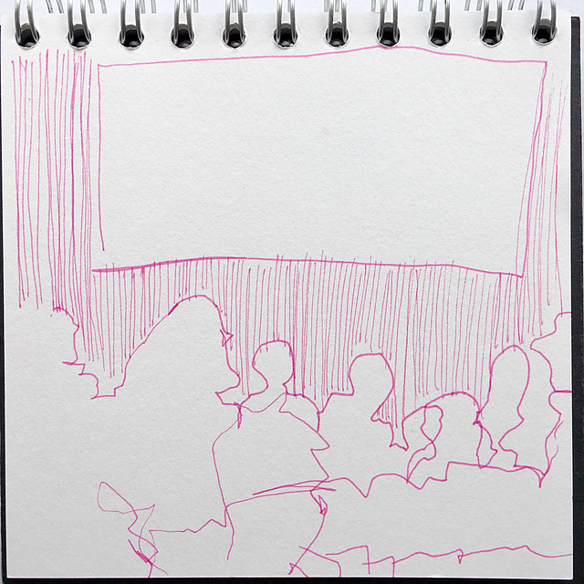 Blind drawing of film watchers