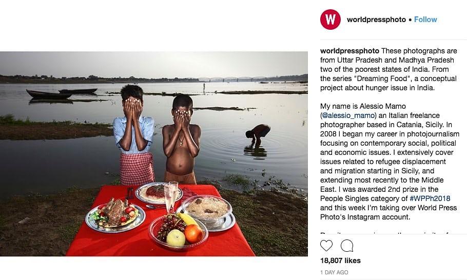 """世界新闻摄影比赛的Instagram刊登马莫的摄影作品""""梦想食物""""。(图片来源:世界新闻摄影比赛Instagram帐号)"""