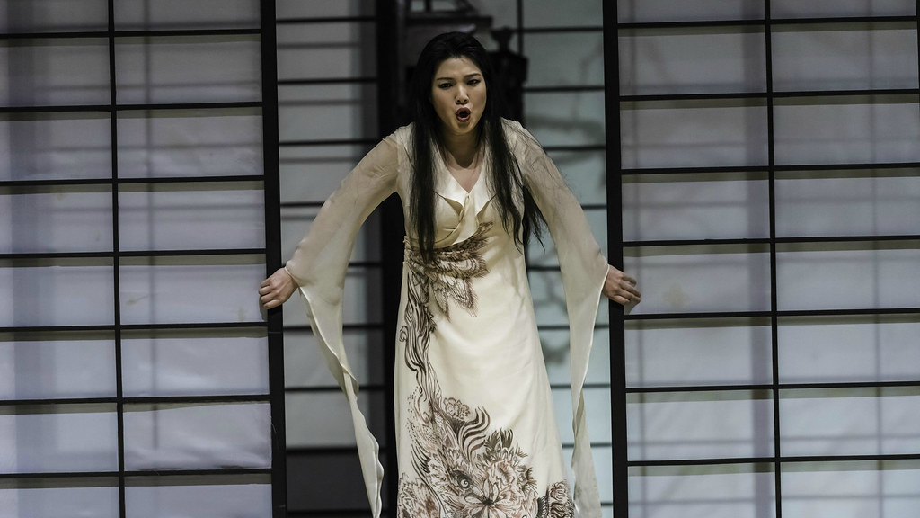 Karah Son on stage as Madam Butterfly