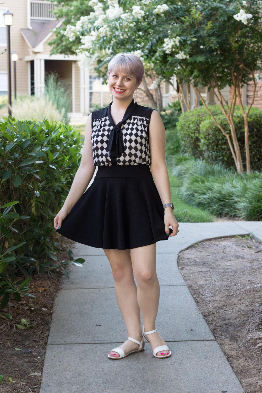 Petite Style Blog - Checkered Shirt, Black Skater Skirt, White Flat Sandals