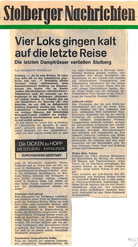 Stolberger Nachrichten, 16. Juni 1976