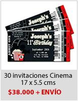 Invitaciones Ticket Fiesta Cumpleaños