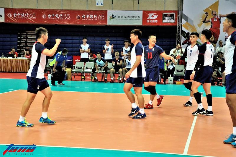 台灣男排拿到賽會首勝。(張哲郢/攝)