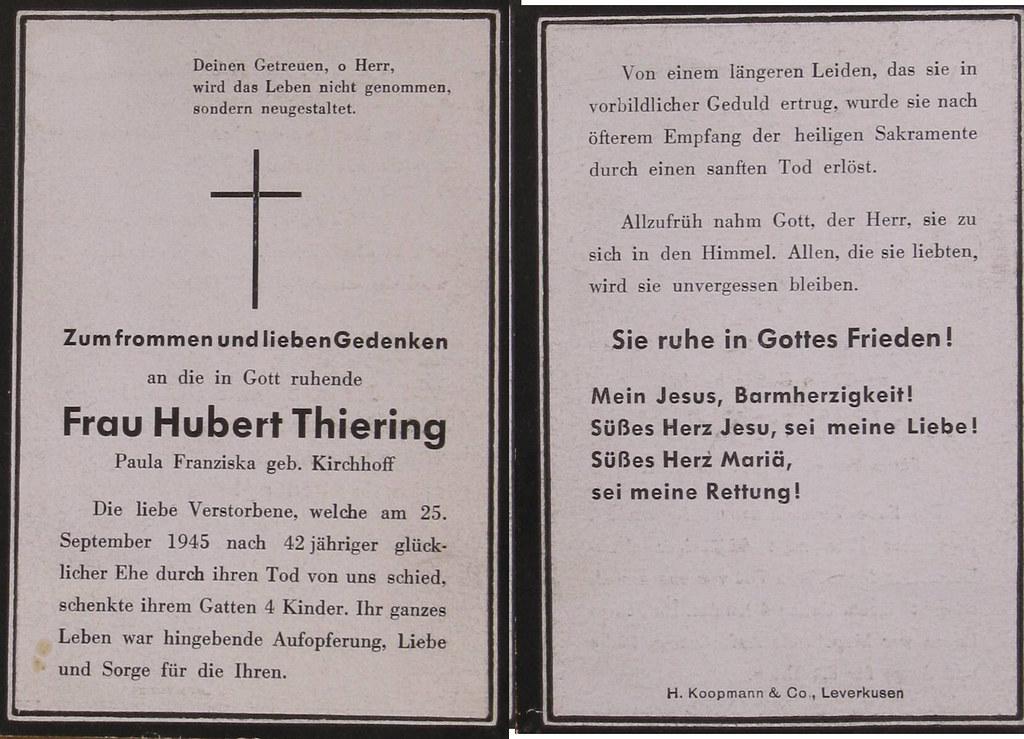 Totenzettel Thierung, Paula Franziska † 25.09.1945