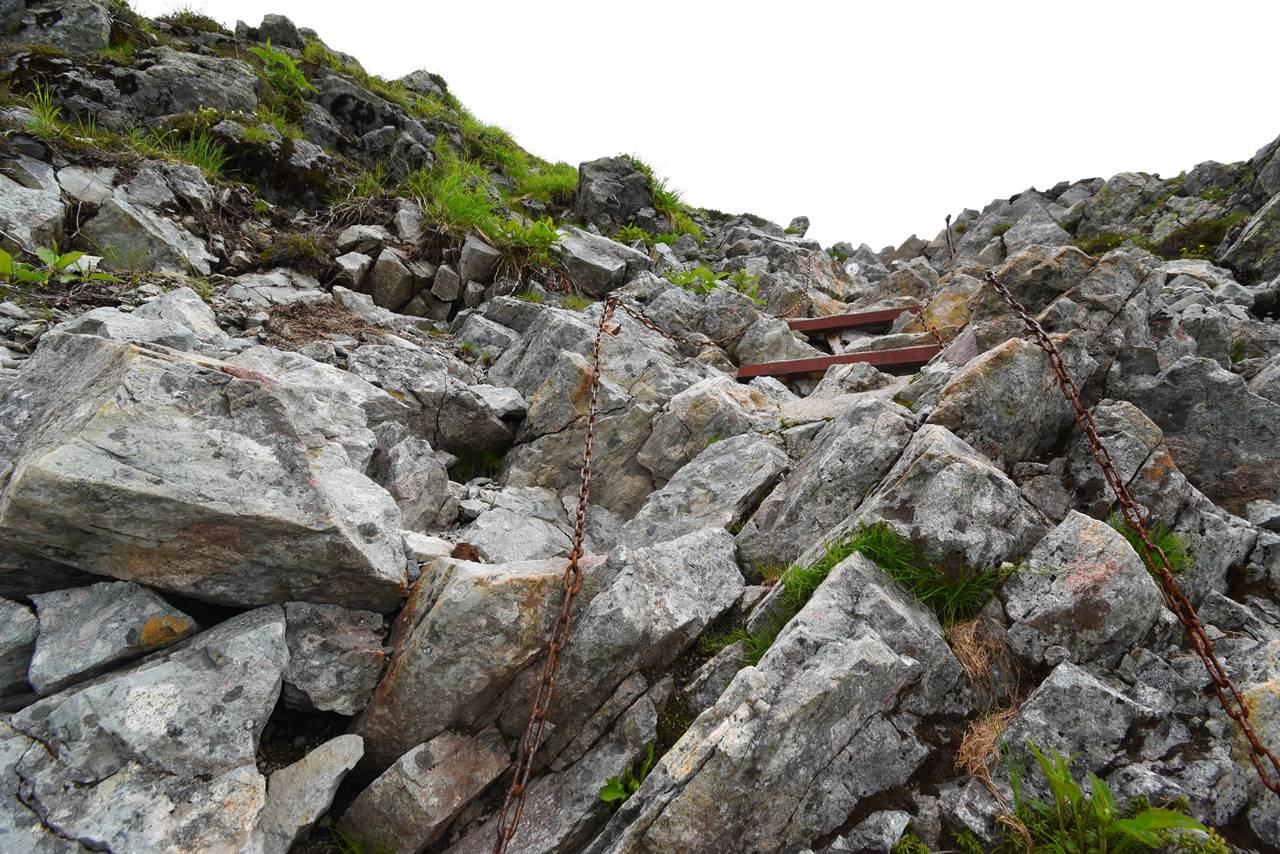 天狗池から南岳小屋までの鎖場