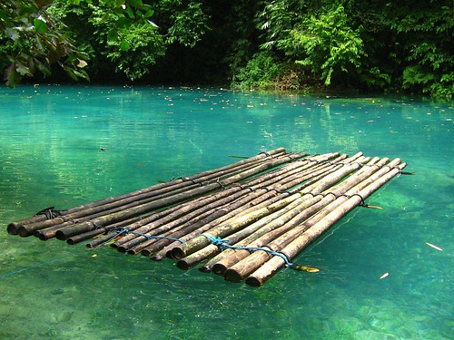 Bamboo raft after a month i returned back to kawasan for Making bamboo things