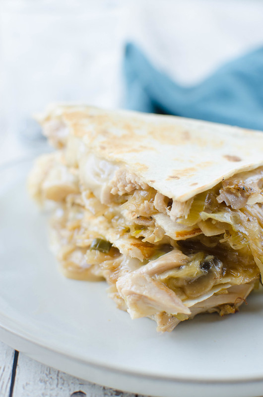 Mu Shu Pork Quesadillas - grilled flour tortillas filled with slow cooked pork, cabbage, mushrooms, green onions, a hoisin sauce, and lots of Monterey Jack cheese!