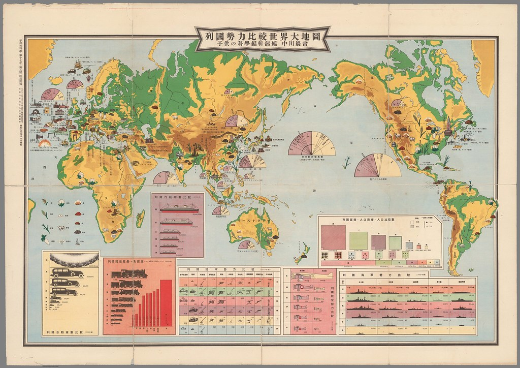Japanese world map showing the industries of different countries (1933)