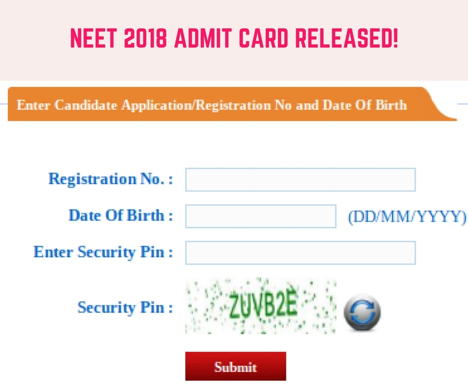 NEET 2018 Admit Card Released; Login To Download At Cbseneet.nic.in