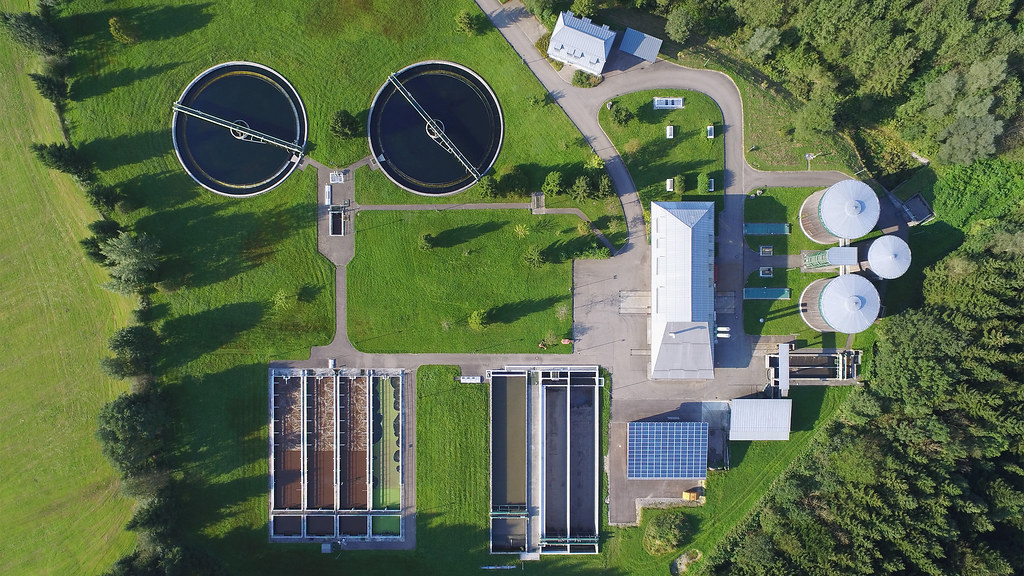Aerial view of a water plant