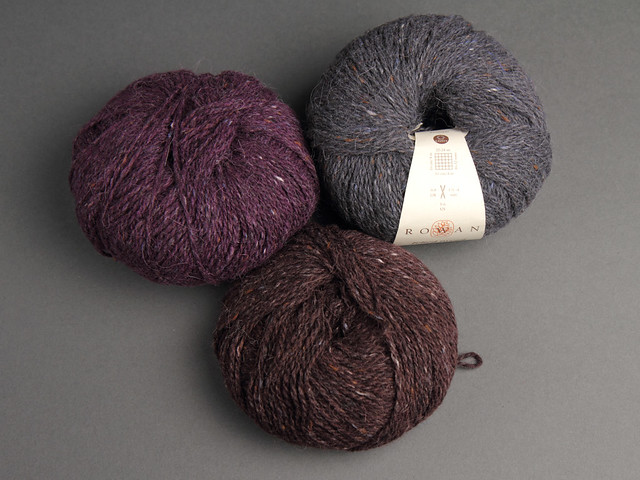 Destash yarn: Rowan Felted Tweed DK in Grey, Brown and Purple