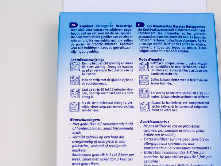 Kruidvat Cleansing Reinigende Neusstrips gebruiksaanwijzing