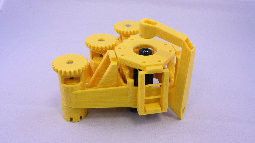 The 3D printed microscope frame.