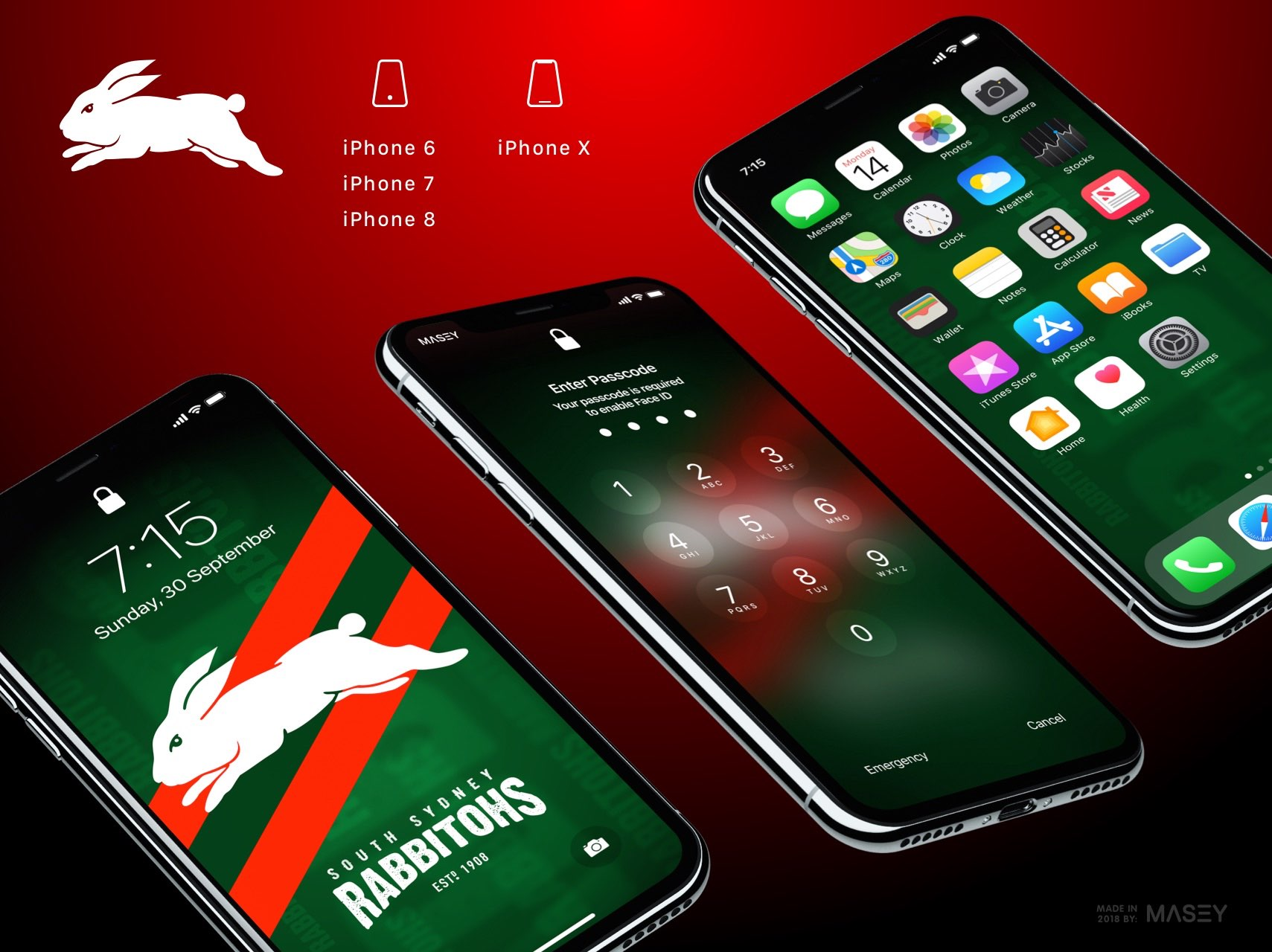 South Sydney Rabbitohs iPhone Wallpaper
