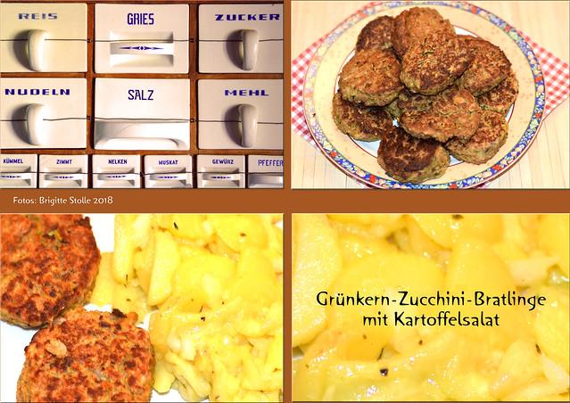 Grünkern-Zucchini-Bratlinge mit Kartoffelsalat ... Brigitte Stolle 2018