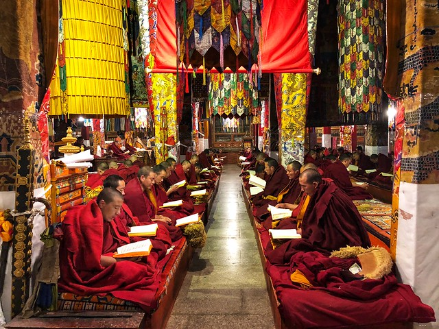 Monjes leyendo en la Sala de la Asamblea en el monasterio de Ganden (Tíbet)