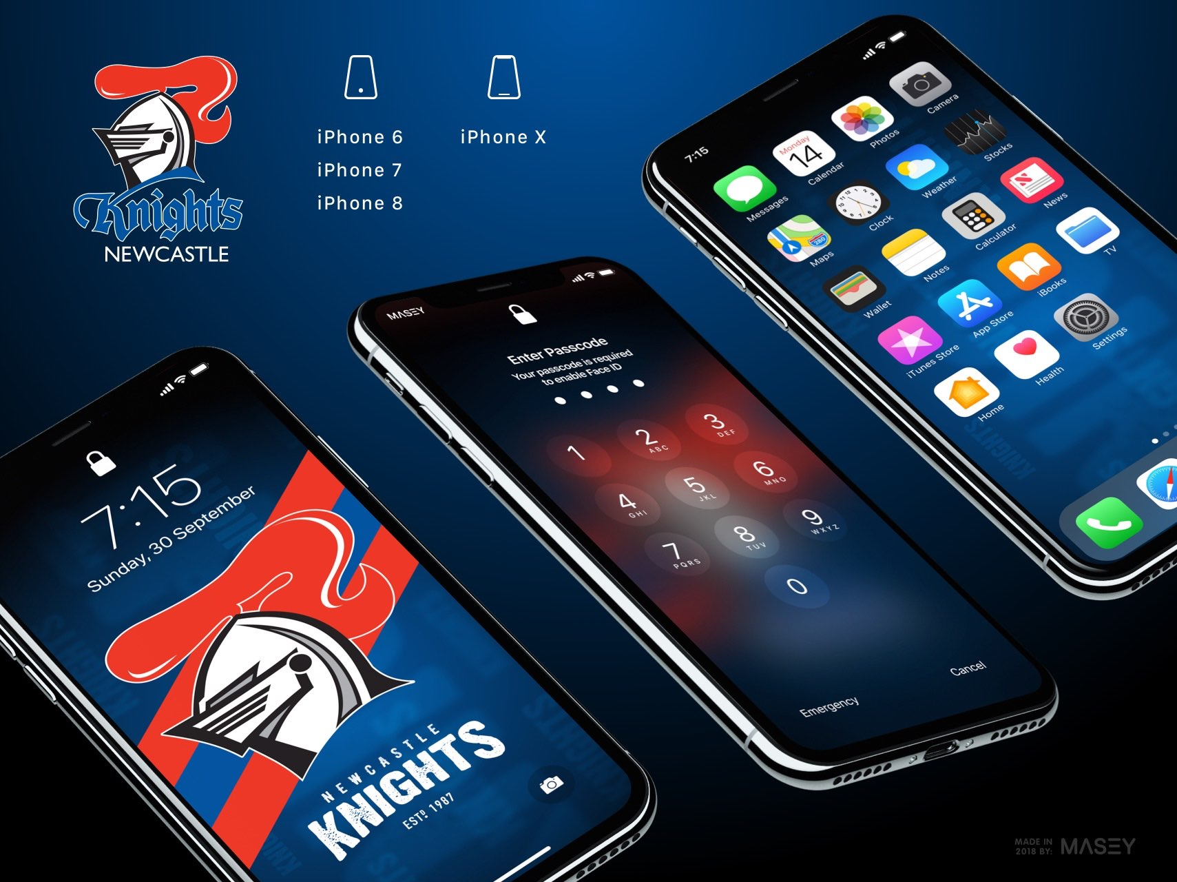 Newcastle Knights iPhone Wallpaper