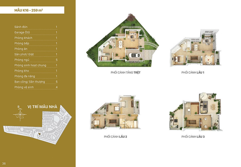 Mẫu thiết kế K16 biệt thự đơn lập Villa Park