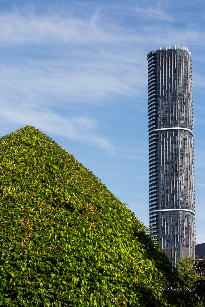 The Infinity Tower Brisbane In Contrast To A Topiary