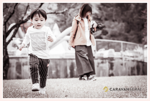 養老ランド(岐阜県養老町)で家族写真のロケーション撮影 3才の男の子のお誕生日記念・バースデーフォト