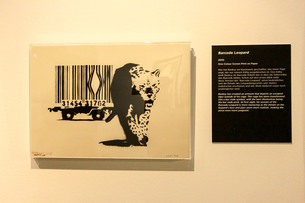 barcode leopard the art of banksy exhibition in berlin a flickr. Black Bedroom Furniture Sets. Home Design Ideas