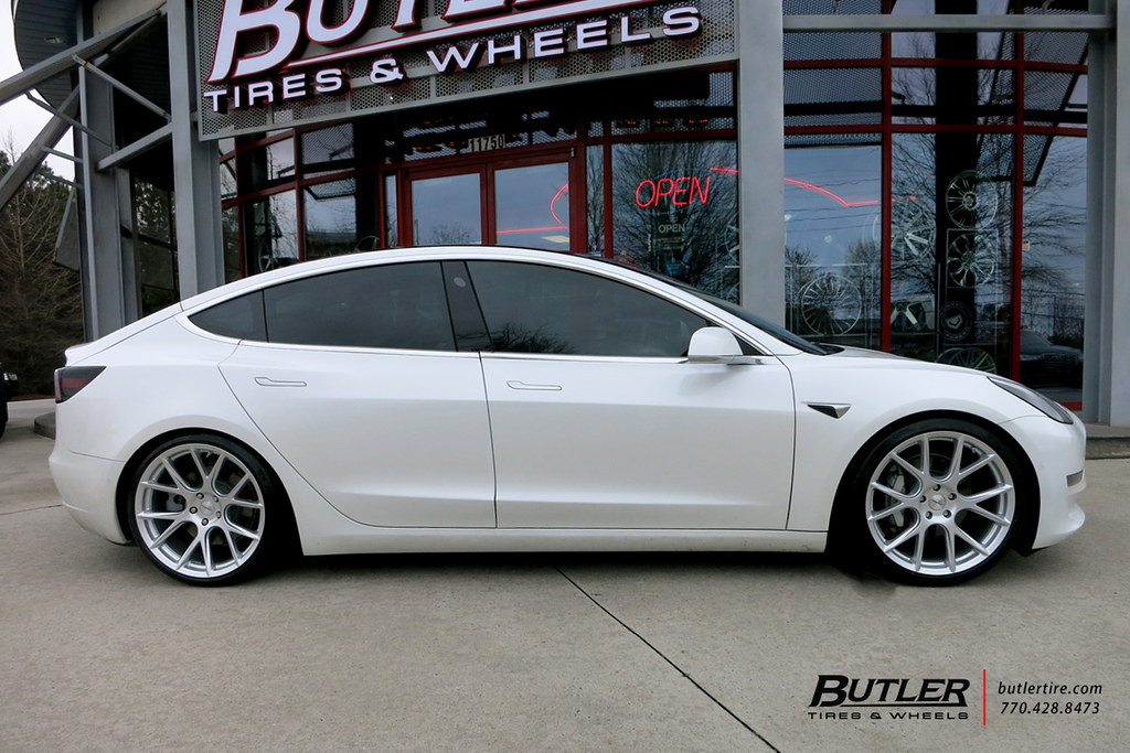 Lowered Tesla Model 3 with 20in Vossen VFS6 Wheels and Mic ...