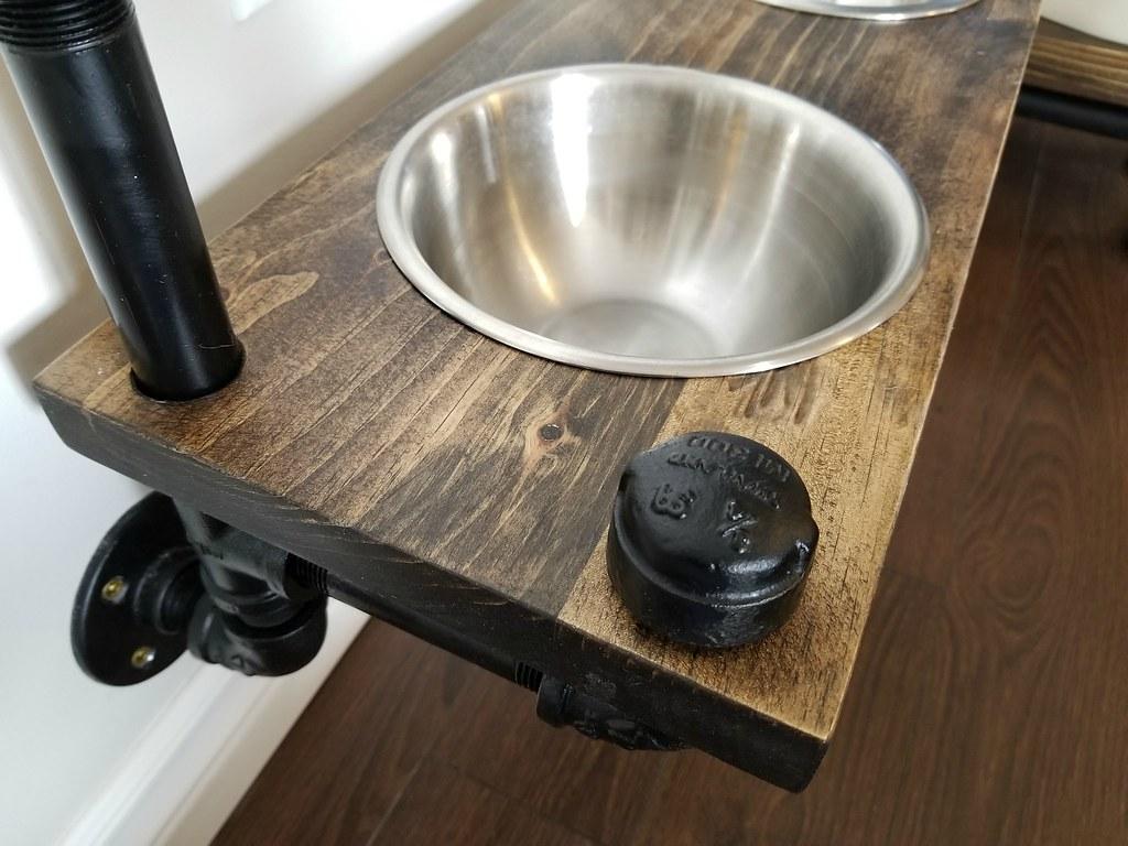 Industrial style dog feeding station - plumbing pipe  dog bowl