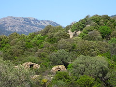 Les deux premières maisons visibles mais non visitées vers le point 398m avec le four à pain