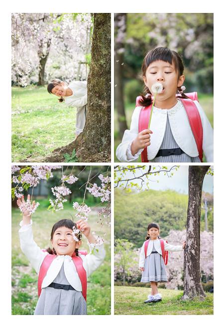 女の子の小学校入学記念の家族写真撮影 プロカメラマンがフラワーパーク(名古屋市守山区)でロケーション撮影 ランドセル
