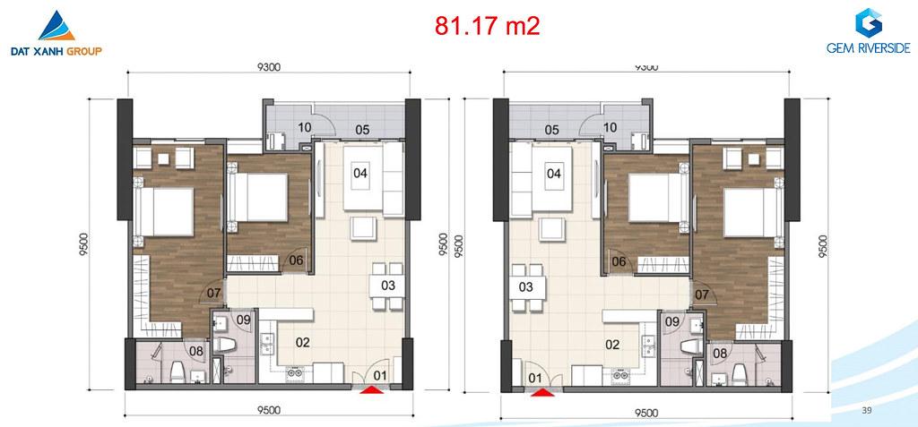 Thiết kế Mặt bằng tầng - căn hộ điển hình Gem Riverside 12