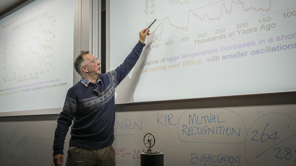 Professor Chris Budd OBE delivering a lecture