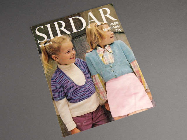 Sirdar 4166 Child's Cropped Cardigan 70s Vintage Knitting Pattern Leaflet