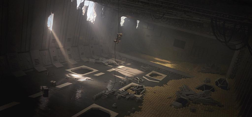 Massive LEGO Star Wars The Force Awakens scene depicts Rey in crashed Star Destroyer on Jakku | The Brothers Brick