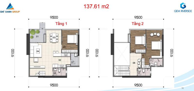 Gem Riverside thiết kế mẫu Duplex Villa - Penthouse 7