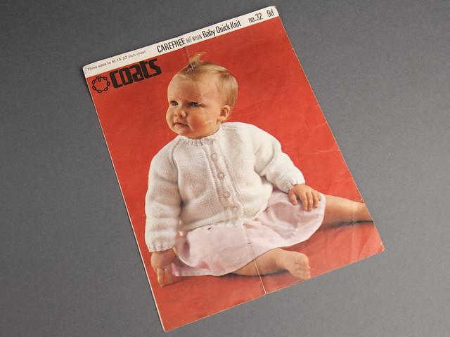 Coats no.32 Baby Cardigan 60s Vintage Knitting Pattern Leaflet