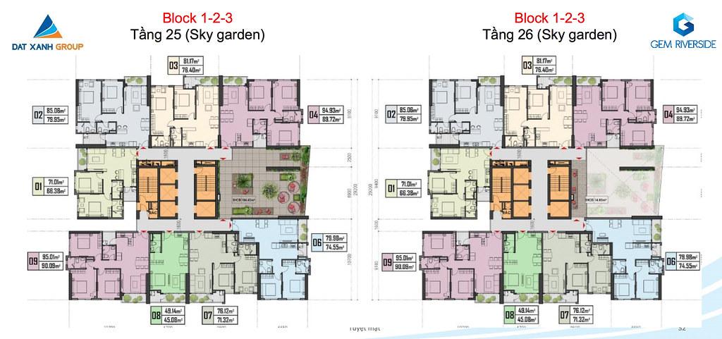 Thiết kế Mặt bằng tầng - căn hộ điển hình Gem Riverside 22