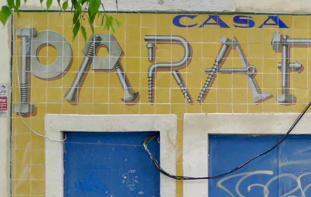 Art Deco lettering on ceramic tiles, Lisbon, Portugal | Flickr
