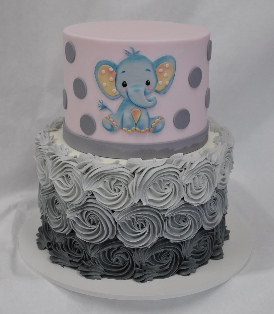 Elephant Themed Pink And Grey Baby Shower Cake Jenny Wenny Flickr