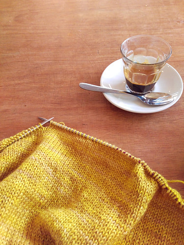 Espresso-powered knitting