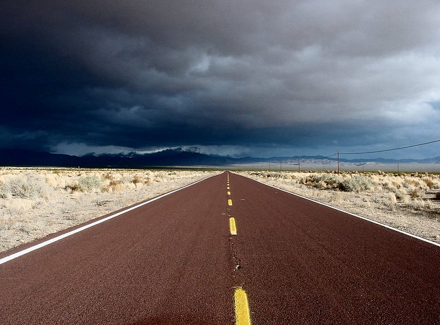On a dark desert highway... | November storm clouds gather ...