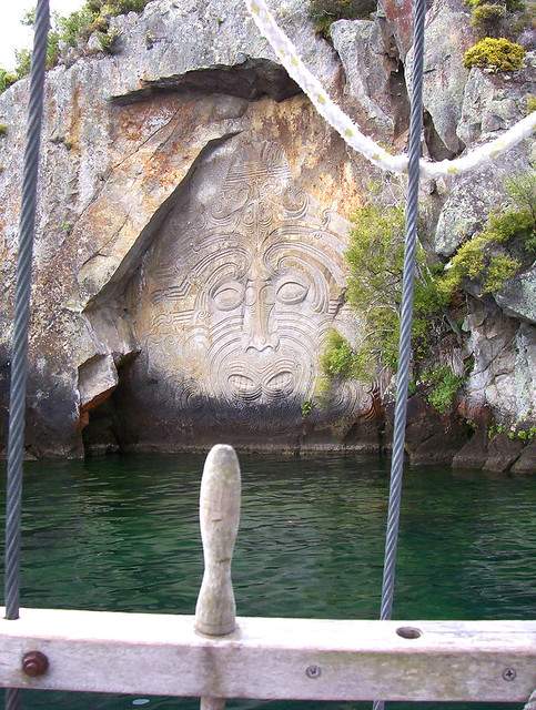 Rock carvings on lake taupo the famous maori