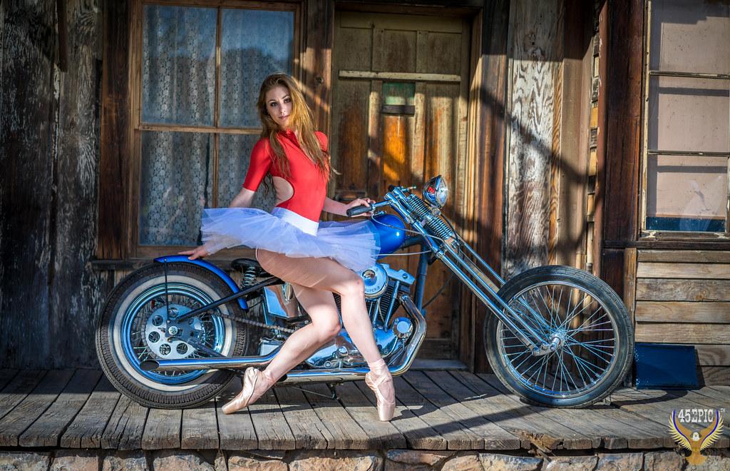 Harley Davidson Chopper >> Motorcycle Ballet! Ballerina & Classic Chopper! Beautiful ...