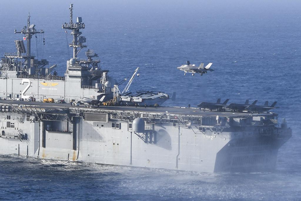 An F-35B Lightning II lands aboard USS Essex (LHD 2). | Flickr