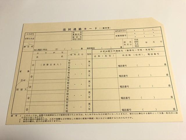 巡回連絡カード表
