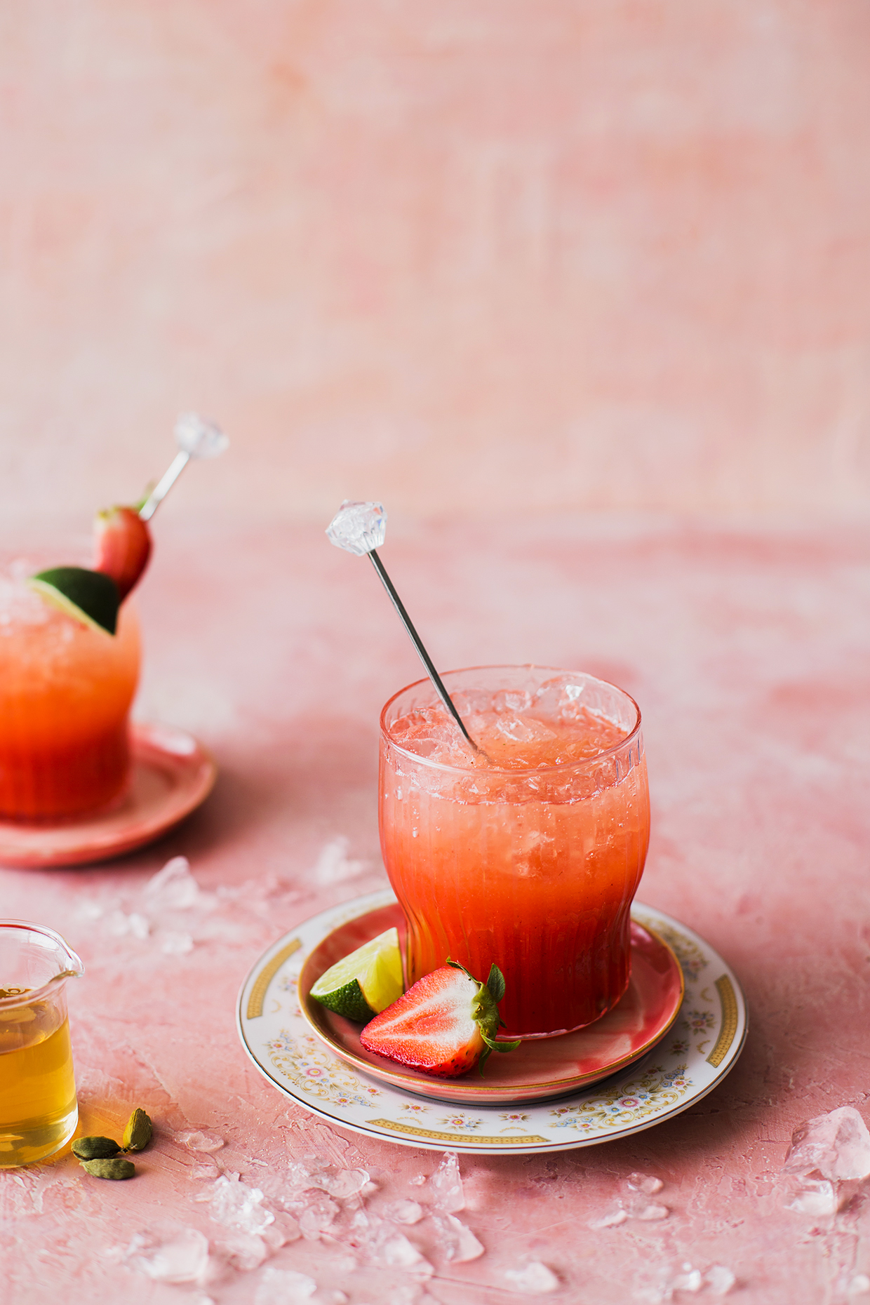 Sparkling Strawberry Cardamom Margaritas