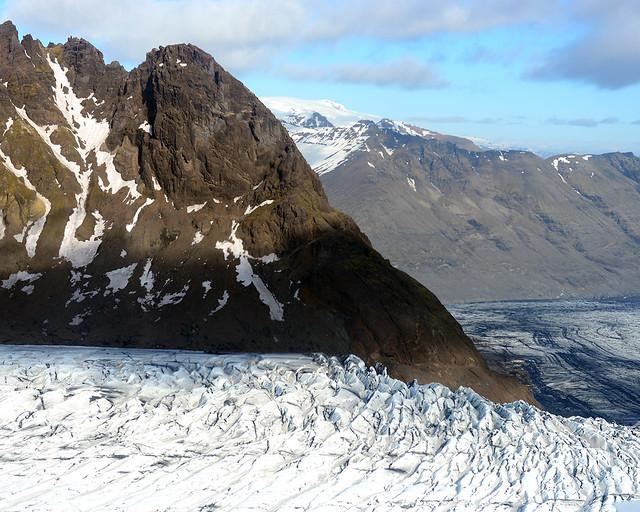 Vista aérea de uno de los glaciares de Islandia